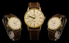 Omega Seamaster 600 Mechanical Wind Gold Tone Gents 1960's Wrist Watch. Features Seamaster Logo to