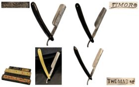 A Fine Quality of Antique Period Collection of Hollow Ground Steel Bladed Razors All with Razor