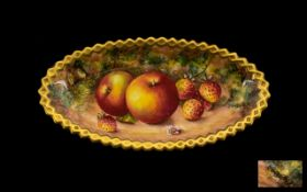 Royal Worcester Superb Quality Handpainted and Signed Shallow Dish 'Apples and Strawberries' Still