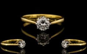 18ct Gold - Nice Quality Single Stone Diamond Set Ring, Marked 18ct Gold to Interior of Shank.