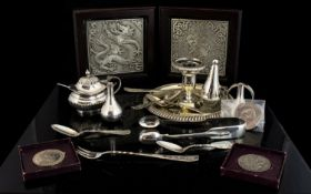 A collection Of Silver Plated Items To include two Danish spill vases, Chamber stick and snuffer,