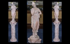Terracotta Damsel Figure On Plinth. Lady of typical Greek form, stands at 49 inches high. nice