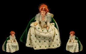 Authentic Vintage Peggy Nisbet Queen Elizabeth 1 Portrait Doll. Rare item, in cream dress adorned