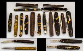 Antique Period - Excellent Collection of Tortoiseshell Handle Steel Bladed Assorted Multi - Bladed