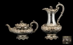 William IV - Period Stunning Superb Quality Sterling Silver Matched Teapot and Coffee Pot of Great