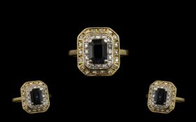 18ct Gold - Nice Quality Diamond and Sapphire Set Dress Ring of Octagonal Shape.