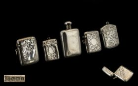 Edwardian Period Collection of Silver Vesta Cases ( 4 ) In Total + A Sterling Silver Scent Bottle
