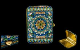 Antique Period Fine Quality and Finely Worked Russian Silver Gilt and Cloisonne Ladies Cigarette