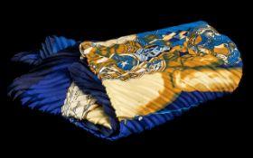 Hermes Vintage Plisse Pleated Scarf Art des Steppes 'Mon Petit Cheval Mexican' by Hermes. Royal blue