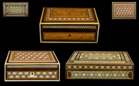 Three Early 19th Century Anglo-Indian Vizagapatam Carved Sandalwood boxes with micro-mosaic inlays