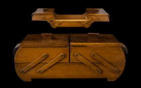 Oak Sewing Box. 1950 oak sewing box, with 2 Square lids and inner compartments, 12 inches wide, 4