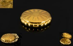 Ladies - Superb Shaped / Designed Gold Tone Musical Compact / Mirror, Made by KIGU, From the 1950's.