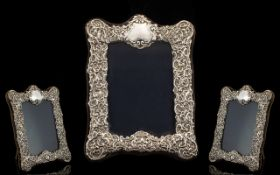 Edwardian Style Ornate Embossed Sterling Silver Photo Frame of Attractive Design and Form with