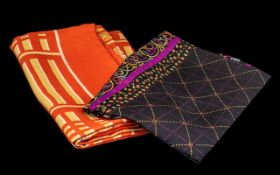 Two Vintage Liberty of London Scarves. Vintage orange and sand colour scarf with hand rolled