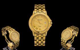 Raymond Weil Tango Gents Solid Gold Plated on Steel Wrist Watch. Ref 5560.G.W.1.