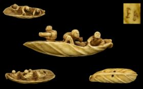 Japanese 19th Century Fine Quality and Signed Carved Ivory Bone Netsuke In The Form of 3 Male