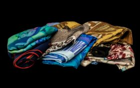 Collection of Nine Assorted Silk Scarves including designs by Loredano, Gelco, Bloomsbury, Fendi,