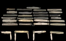 A Good Collection of Assorted Single and Double Bladed Pocket Penknives ( 25 ) In Total. Good Lot.