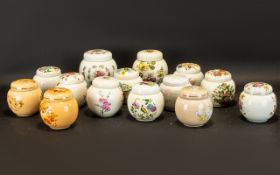 Collection of Lidded Ginger Jars by Sadler. Assorted designs and colours including floral, blue