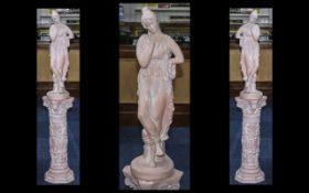Terracotta Damsel Figure On Plinth. Lady