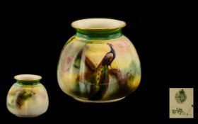 Royal Worcester Hand Painted Small Vase