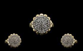 Ladies 9ct Gold Diamond Set - Flower hea