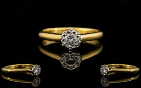 18ct Gold - Attractive Single Stone Diam
