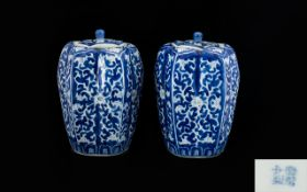 Pair Of Chinese Blue And White Lidded Ja