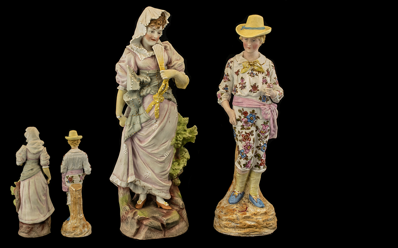 Lot 671 - Pair of German Bisque Porcelain Figurine
