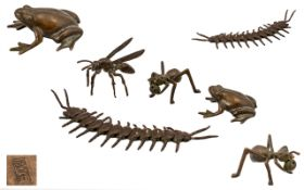 Japanese Fine Quality Collection of Minature Bronze Insects and Water Figure,