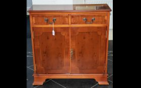 20th Century Yew Wood Small Sideboard with two short drawers and storage beneath.