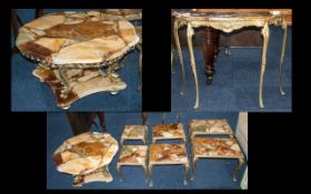 Two Nests Three Onyx Style Topped Tables with brass frames.