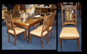 Six Arts & Crafts Oak Dining Chairs by Thomas Turner.