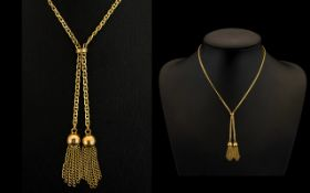 Ladies Attractive and Well Designed 9ct Gold Bespoke Chain - with twin tassel and ball drops fully