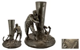 French Early 20th Century Period Impressive Figural Centrepiece In Polished Pewter.