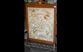 Early 20th Century Mahogany Finish Fire Screen with tapestry 'Tree of Life' with coronet and