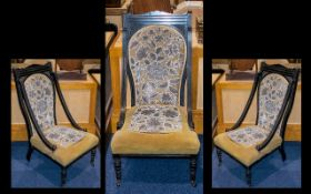 Late Victorian Ebonised Low Chair.