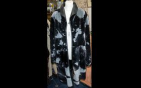 Black Leather Fully Reversable to Black/Grey Pattern Shearling - Superb quality ladies coat by