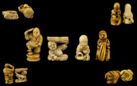Japanese Late 19thC Good Collection of Ivory/Bone Carved Miniature Netsukes- various subjects.