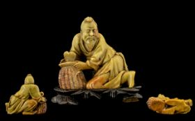 Chinese 19th Century Signed Finely Carved and Quality Hard stone Figure - of a fisherman with a