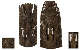 A Pair of 19thC Indian Carved Hard Wood Wall Plaques depicting deities and temple.
