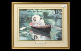 Sherree Valentine Daines Print 'The Boating Lake'. Framed and mounted behind glass in a contemporary