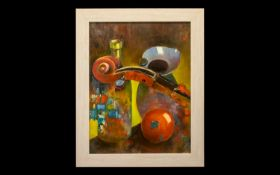 Oil Painting by Hadrian Richards 'Still Life With Violin' dated 2017. Framed in contemporary cream