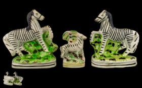 19th Century Staffordshire Pair Of Zebras.