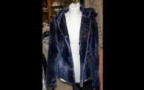 Armani Faux-Fur Jacket with Hood - Blue/Grey fully lined. As new. Size small.