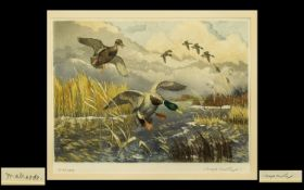 Winifred Austen Artist's Proof Tinted Etching 'Mallards', Winifred Austen esteemed British