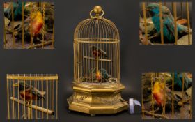 Swiss 19thC Large and Good Quality Key Wind Singing Birds Automation Musical Cage/Box.