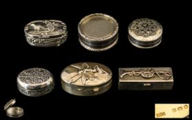 A Good Quality and Interesting Set of Solid Vintage Silver Pill Boxes, Various Shapes,