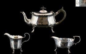Early 20th Century Matched Bachelors 3 Piece Silver Tea Service, Various Hallmarks.