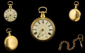 George III - Superb Quality 18ct Yellow Gold Cased Key Wind Open Faced Pocket Watch.